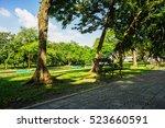 bench in the green public park... | Shutterstock . vector #523660591