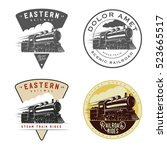 set of vintage retro railroad... | Shutterstock .eps vector #523665517