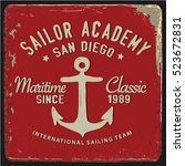 vintage nautical graphics and... | Shutterstock .eps vector #523672831