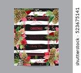 vintage poinsettia christmas... | Shutterstock .eps vector #523675141