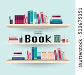 wooden bookshelves with... | Shutterstock .eps vector #523675351