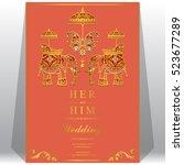 indian wedding card  elephant... | Shutterstock .eps vector #523677289
