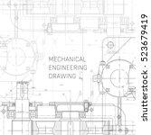 mechanical engineering drawing. ... | Shutterstock .eps vector #523679419