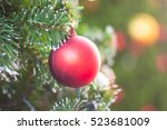 soft focus shiny red christmas... | Shutterstock . vector #523681009