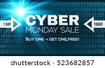 cyber monday sale vector banner ... | Shutterstock .eps vector #523682857