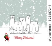 christmas card with white bears ... | Shutterstock .eps vector #523687249