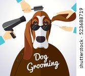 basset hound getting groomed at ... | Shutterstock .eps vector #523688719