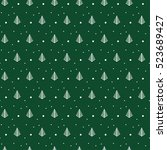 green christmas pattern for... | Shutterstock .eps vector #523689427