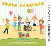 group of happy children...   Shutterstock .eps vector #523691437