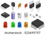 isometric electronic components ... | Shutterstock . vector #523695757