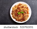 Plate Of Pasta Bolognese On...