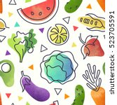 seamless fruit and vegetables... | Shutterstock .eps vector #523705591