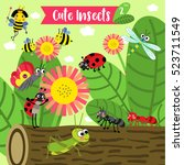 cute insects animal cartoon in...