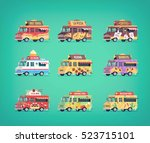 set of flat food truck icons.... | Shutterstock .eps vector #523715101