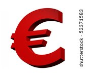 Euro sign from red alphabet set, isolated on white. Computer generated 3D photo rendering. - stock photo