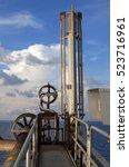 offshore construction platform... | Shutterstock . vector #523716961