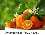 Mature orange and flowers. - stock photo