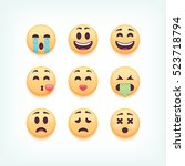 set of emoticons  emoji... | Shutterstock .eps vector #523718794