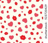 hearts and lips. vector... | Shutterstock .eps vector #523720429
