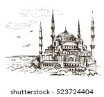 blue mosque  istanbul  turkey.... | Shutterstock .eps vector #523724404