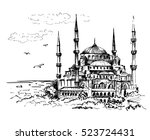 blue mosque  istanbul  turkey.... | Shutterstock .eps vector #523724431