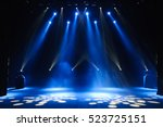free stage with lights ... | Shutterstock . vector #523725151