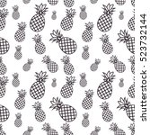 seamless pattern with pineapples | Shutterstock .eps vector #523732144