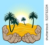 desert and palm trees in a man... | Shutterstock .eps vector #523732234