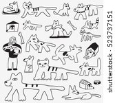 dogs and cats doodles | Shutterstock .eps vector #523737151