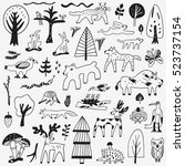 forest animals doodles  | Shutterstock .eps vector #523737154