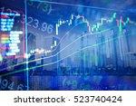 business graph background ... | Shutterstock . vector #523740424