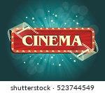 old cinema banner with stripe... | Shutterstock .eps vector #523744549