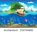 undersea world with island and... | Shutterstock .eps vector #523744681