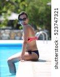 natural good looking woman at... | Shutterstock . vector #523747321