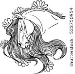 horse portrait with flower.... | Shutterstock .eps vector #523750954