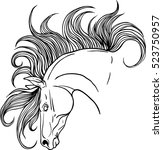 coloring page with horse... | Shutterstock .eps vector #523750957