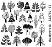 set of illustrations with trees ... | Shutterstock .eps vector #523751455