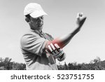 golfer elbow pain  muscle... | Shutterstock . vector #523751755