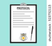 protocol of the police  an... | Shutterstock .eps vector #523752115