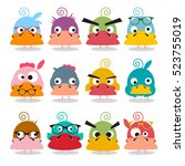 chicken cartoon. funky birds... | Shutterstock .eps vector #523755019