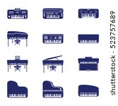 piano icon set. vector... | Shutterstock .eps vector #523757689