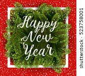 christmas tree branches with... | Shutterstock .eps vector #523758001