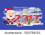 merry christmas banner in flat... | Shutterstock .eps vector #523758151