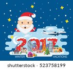 merry christmas banner in flat... | Shutterstock .eps vector #523758199