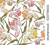 pattern with tulips.seamless... | Shutterstock .eps vector #523758331