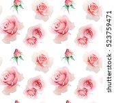 roses seamless pattern | Shutterstock . vector #523759471