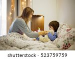 cute sick child  boy  staying... | Shutterstock . vector #523759759