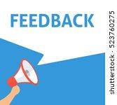 feedback announcement. hand... | Shutterstock .eps vector #523760275