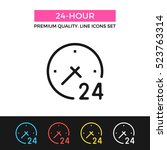 vector 24 hour icon. clock and...