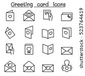 greeting card icon set in thin... | Shutterstock .eps vector #523764619
